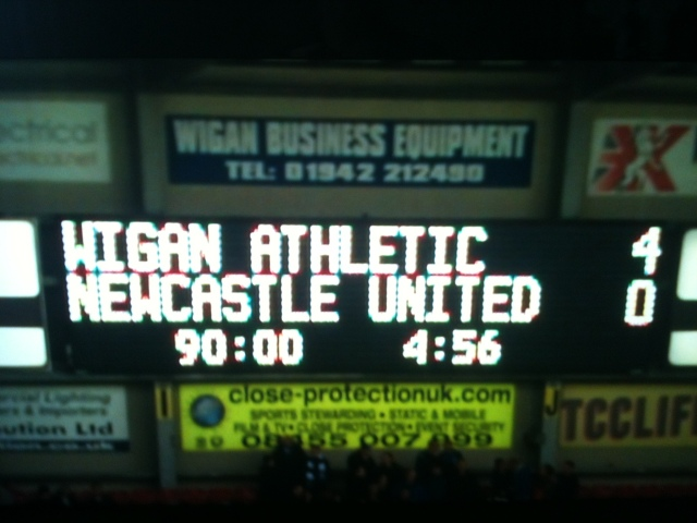 Wigan 4 Newcastle 0