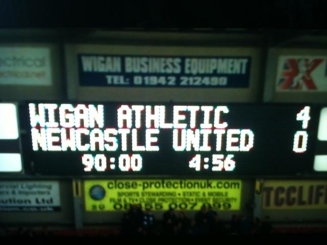 Wigan 4 Newcastle 0