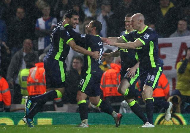 Antolin Alcaraz celebrates the Wigan winner
