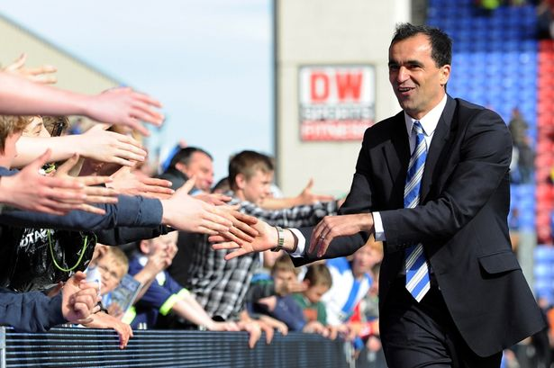 Roberto Martinez with the fans