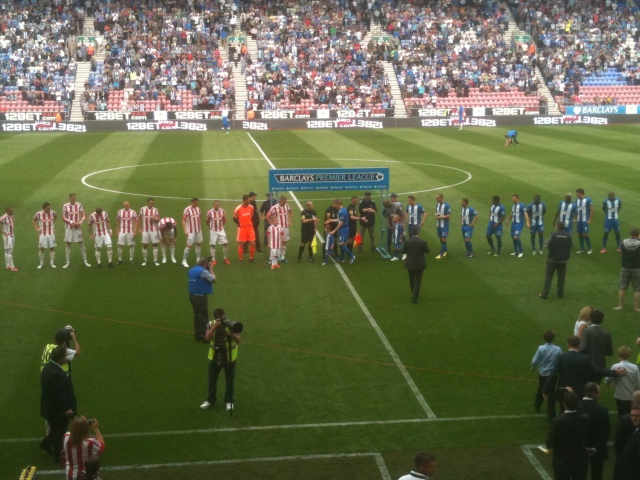 Wigan Athletic and Stoke City line up at the DW stadium