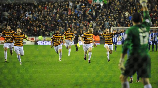 Bradford City players celebrate