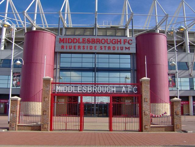 Front of the Riverside Stadium in Middlesbrough